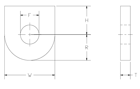 beam lug attachment one hole drawing