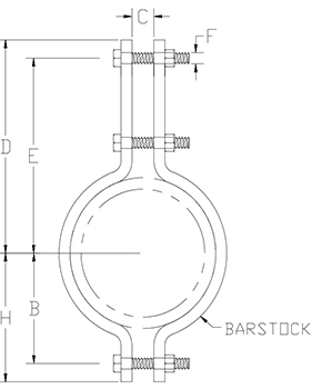 heavy duty double bolt pipe clamp drawing