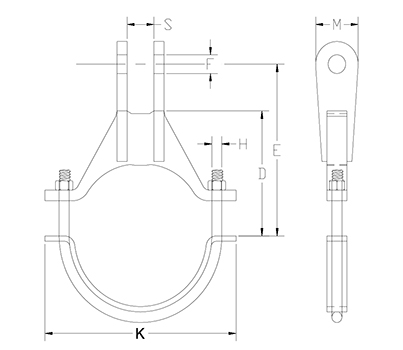 heavy alloy steel pipe clamp drawing