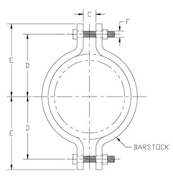 Medium Pipe Clamp Drawing
