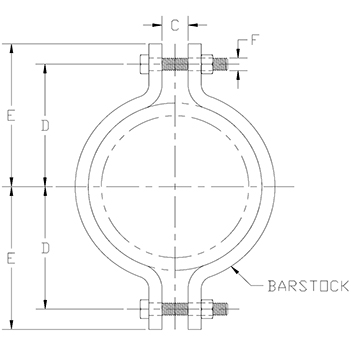 nonstandard two bolt pipe clamp drawing