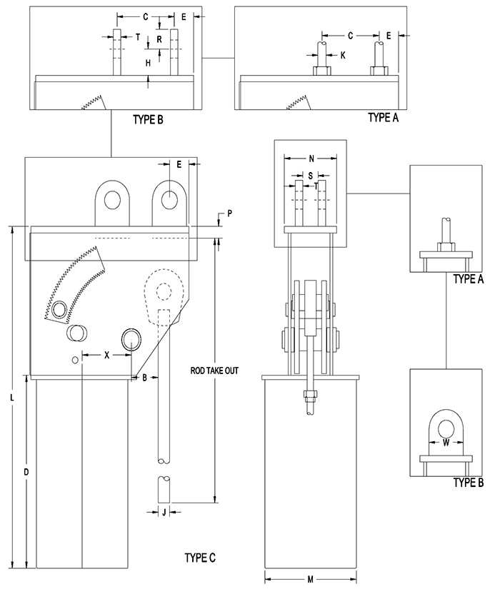 Part RCS-80V Types A, B, C and E Constant Spring Support